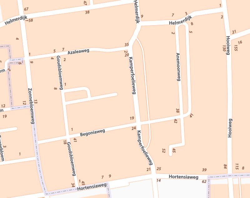 Straatnamenkaart Bloemenbuurt