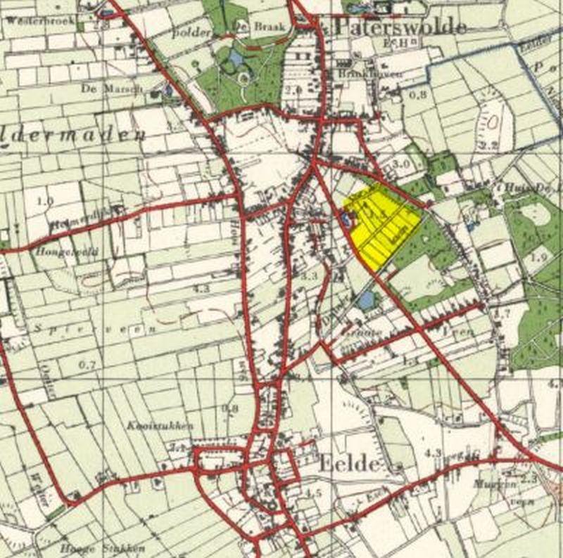 Locatie Oranjepolder in het dorp